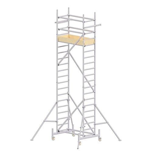 ALTEC Rollfix 600-S, Arbeitshöhe 6 m neu, inkl. 4x Dreieckausleger, Made in Germany, Alu Gerüst Aluminium Rollgerüst Fahrgerüst Baugerüst Zimmergerüst Arbeitsplattform Arbeitsbühne