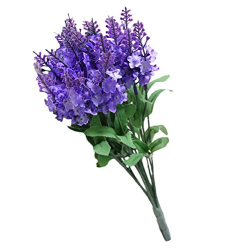 Flores Artificiales,Xinan Flores de Lavanda Decoración para Hogar Flor Seda (B)
