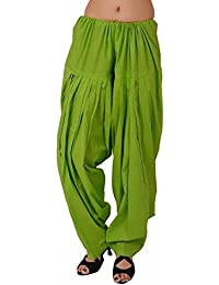 Kurti Studio Women's Cotton Semi Patiala Salwar (semip19_Parrot Green_Free Size)
