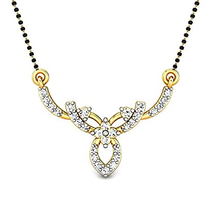Candere By Kalyan Jewellers Kelly 14k Yellow Gold and Diamond Mangalsutra Necklace