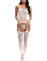 Kinikiss Mujer Salto de Cama Sexy Poliester Pijama Strappy del Cordón Pijama Lencería Picardías Babydoll