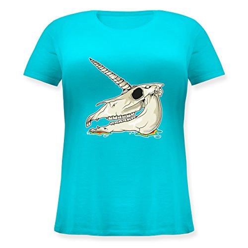 Statement Shirts - Einhorn Totenkopf - Lockeres Damen-Shirt in großen Größen mit Rundhalsausschnitt Türkis