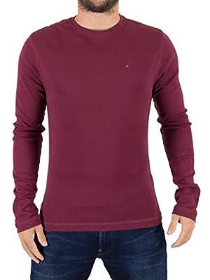 Tommy Hilfiger Denim Men's Original Longsleeved Logo T-Shirt, Red