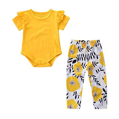 Strampler Set Mädchen Overall Baby Outdoor Streifen T-Shirt Top + Jeans Hose Zerrissene Jeans Set Pwtchenty Kleinkind Kinder Baby Outfit Kleidung (100, Gelb)