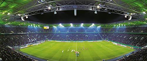 Blue-Letter Mönchengladbach Mitte Stadion Panorama - Hochwertiger FineArtPrint (120 cm x 50 cm) -