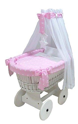 Babymajawelt® Stubenwagen Komplett Set 10 Teile, inkl. Matratze, Bollerwagen mit großen Räder (gummiert) (Stars rosa)