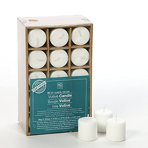 Hosley's Set of 30 White Unscented Votive Candles. Up to 10 hour burn. Bulk Buy. High Quality Wax Blend. Ideal for Wedding, Spa, Aromatherapy, Party, Everyday