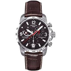 Certina C001.639.16.057.00 - Reloj cronógrafo de cuarzo para hombre con correa de piel, color marrón