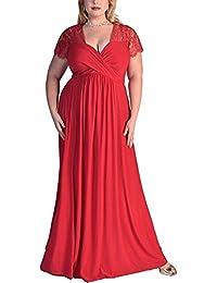 ZhuiKun Mujer Vestido de Encaje V-Cuello Tallas Grandes Vestidos de Coctel Noche Partido