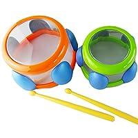 Cansenty 2Pcs Baby Mini Drum Bath Percussion Musical Toys Set Kids Grasping Intelligent Development Kids Educational Toys
