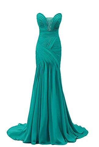 Bridal_Mall - Robe - Trapèze - Sans Manche - Femme - Turquoise - 40