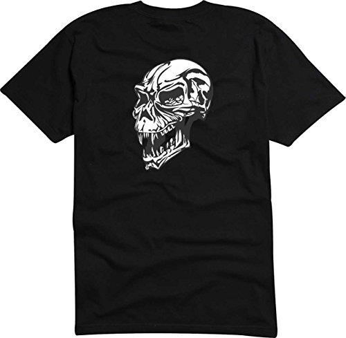 T-Shirt Herren Schädel fanged Schwarz