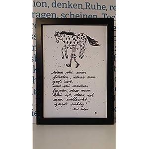 """""""Wenn die einen finden…"""" Bild, Poster, Dekoration, von Hand gemaltes Aquarell, schwarz-weiß, hygge, Din A4, Spruch, der Mut macht man selbst zu sein, Geschenkidee, Pippi Langstrumpf, MIT Rahmen"""