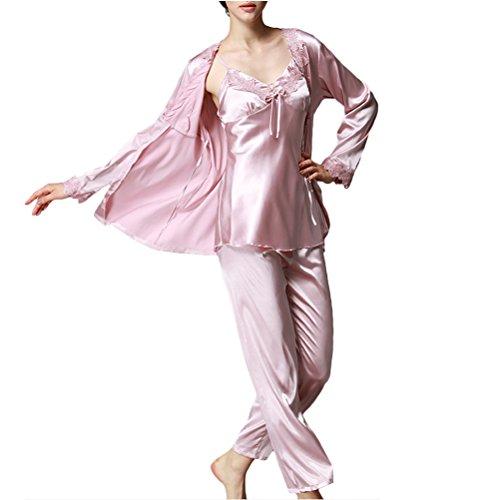 Zhhlaixing 3 PCS Women's Sexy Pajamas Long Sleeve Nightgown Sleepwear Nightwear Set Pale Lavender