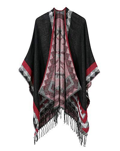 Anyua donna stole eleganti da cerimonia caldo mantelle con nappa poncho nero