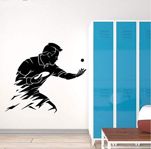 ZJfong Tischtennis Wand Vinyl Aufkleber Ping Pong Sport Wand Kunst Wandbild Gym Wall Decor Liebhaber Tapete 48x42 cm