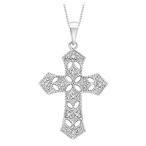 Carissima Gold 9 ct White Gold Diamond Filigree Cross Pendant on Chain Necklace of 46 cm/18 inch