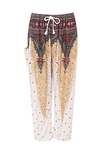 Haremshose - Aladdin Hippie Hose mit Taillenschnürung Peacock White