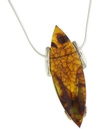 Nova Silver Amber Art Dynasty Amber Pendant with 18 Inch Snake Chain REOahELU