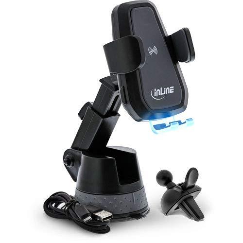 InLine KFZ Smartphone Halterung Elektrisch mit Saugnapf und Befestigung für Lüftungsschlitz, One Touch Qi, Universal, Ausziehbar, Wireless Charger