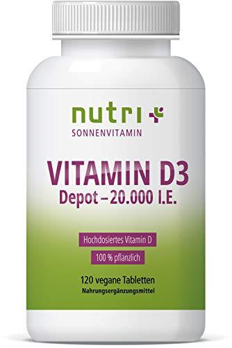 Vitamin D3 VEGAN + HOCHDOSIERT 20000 I.E - alle 20 Tage 1 Tablette - 120 Tabletten - D Depot XXL - Pflanzlich - Sonnenvitamin Cholecalciferol - Premiumqualität aus Deutschland