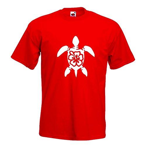 KIWISTAR - Schildkröte Hawaii T-Shirt in 15 verschiedenen Farben - Herren Funshirt bedruckt Design Sprüche Spruch Motive Oberteil Baumwolle Print Größe S M L XL XXL Rot