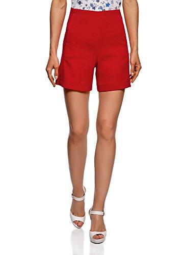 oodji Ultra Damen Shorts mit Hohem Bund und Reißverschluss, Rot, DE 34 / EU 36 / XS