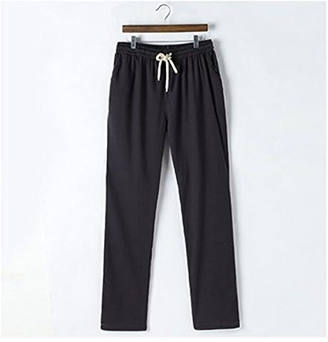 Meijunter Summer Mens Breathable Linen Slacks Pantalon en lin Flat Front Sport Pants Loose Cotton Trousers Pantalon en coton Color Black Asian Size 4XL