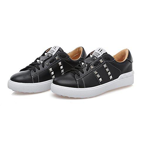 Shenn Femme Mode Baskets Lacé Rivets Cuir Baskets Chaussures Noir