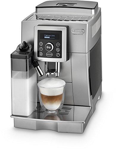 De'Longhi ECAM 23.466.S Kaffeevollautomat | 1450 Watt | Digitaldisplay | Integriertes Milchsystem | Cappuccino auf Knopfdruck | Herausnehmbare Brühgruppe | 2-Tassen-Funktion | Silber