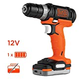 BLACK+DECKER BDCDD12S1-QW Perceuse-Visseuse sans fil - 12 V - 1,5 Ah - 1 batterie -...