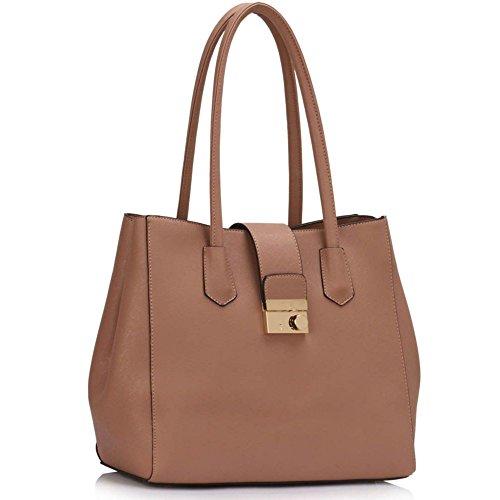 LeahWard® Große Größe Damen nett Essener Schultertaschen Damen Qualität Tragetasche Handtaschen 454 Ebene Taschen-nackt