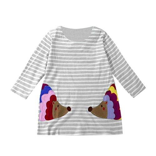 Cocktailkleider Knielang Röcke Hirolan Festliche Kinderkleider Babykleidung Kleinkind Säugling Outfits Kleider Kinder Strassenmode Baby Mädchen Lange Ärmel Karikatur Streifen Kleid (100, Grau)