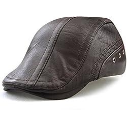 Roffatide Engranaje Costura Cuero de la PU Ajustable Plano Gorra Sombrero de Boina Golf Chapelas Marron Oscuro
