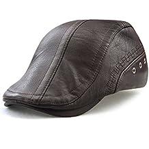 Roffatide Engranaje Costura Cuero de la PU Ajustable Plano Gorra Sombrero  de Boina Golf Chapelas 0370d0820f2