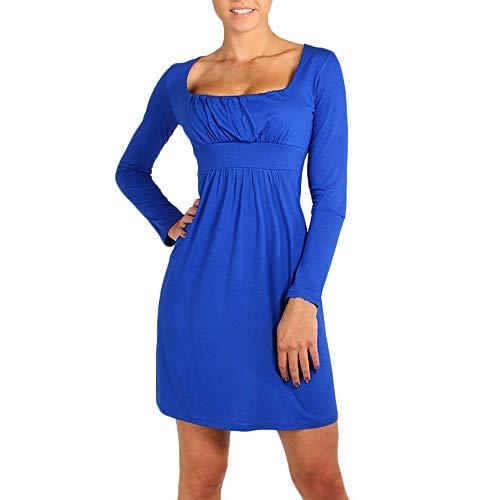 Kobay Mode Mini Robe Femme Fille Tunique Col Carré Robe à Plis Et Manches Longues(Large,Bleu)
