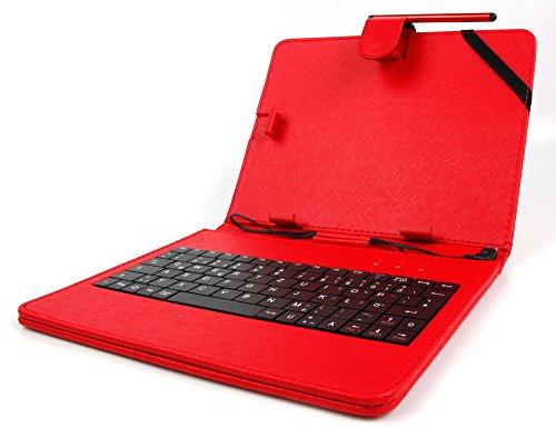 DURAGADGET 2 in 1: Deutsche Tastatur und rote Tablet-Hülle für 8 Zoll Lenovo IdeaTab A8-50 A5500