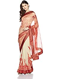 Womanista Women's Faux Crepe & Georgette Sari With Blouse Piece(FS9047_Red and Off-White_Free Size)
