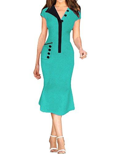 SaiDeng Robe De Style Robe Affaires Partie Taille De Robe Crayon Robe Vert