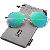 20ed0fc954de5f SOJOS Mode Flieger Metallrahmen Verspiegelt Linse Unisex Piloten  Sonnenbrille mit Frühlings Scharnieren SJ1030 (C9 Gold