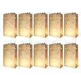 knora 10 x Lichtertüten, Leuchttüten, Kerzentüten; schwer entflammbar; Farbe: weiß; Motiv: Herz; aus Kraftpapier; für Teelichter und Andere Kerzen (27cm x 15m x 9 cm)