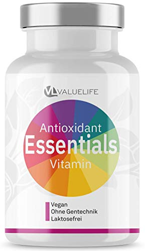 NEUHEIT Valuelife Antioxidant Essentials - Premium Vitalstoff Komplex - Superfruits, OPC, Transresveratrol, CoenzymQ10 & Astaxanthin - Wirkungs-Booster Citrusbioflavonoide - 80 Kapseln