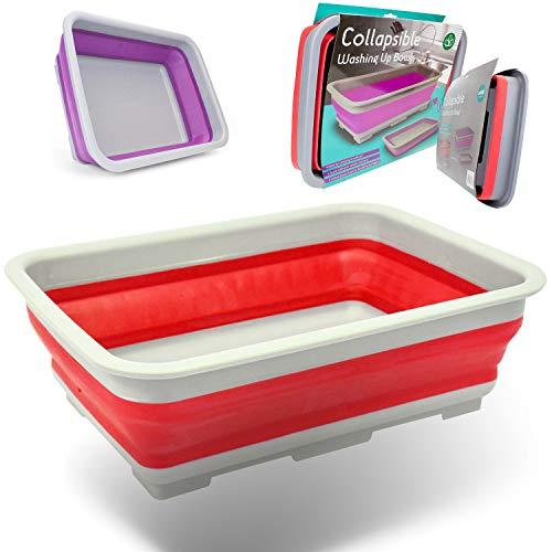 Xen Labs Abwaschschüssel, zusammenklappbar, ideal für Camping, Violett/Rot