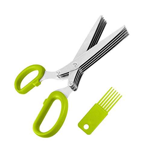 YuamMei Tijeras de hierba de acero inoxidable, cizalla multiusos de cocina con 5 cuchillas y cepillo de limpieza para el hogar, cocina (verde)