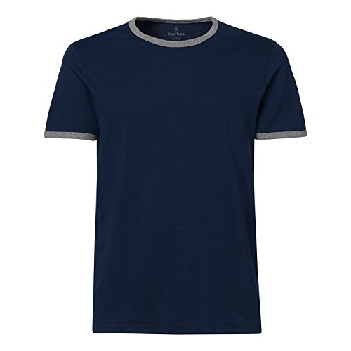 ThokkThokk Herren Ringer T-Shirt Navy/Mid Heather Grey Bio & Fair, Größe:L (T-shirt Ringer Heather)
