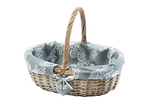 Kobolo Einkaufskorb Picknickkorb Weide grau Dekokorb mit Deckel