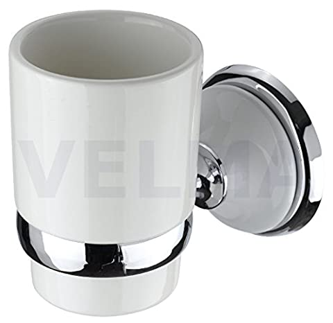 VELMA - 218358 - Exclusive toothbrush holder from our Bianco range - timeless design - highly polished chrome-plated brass and high quality ceramic - no plastic - 100% rustproof - premium quality!
