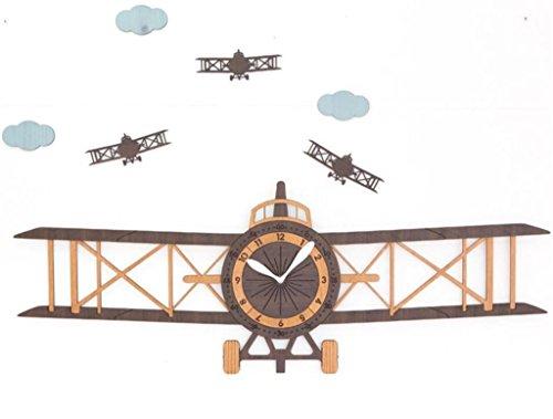 ZHONBIAOA Creative Jumbo Plane Clock Living Room Modern European Cartoon Cartoon Wooden Clock Home Decor Gifts