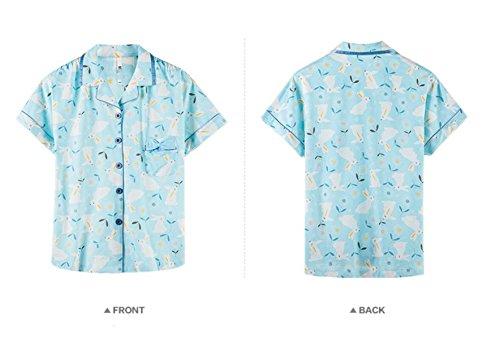 GSHGA Damen Pyjama Baumwollpyjamas Sommer Loose Süße Kurze Ärmel Cardigan Set Home Service Blue