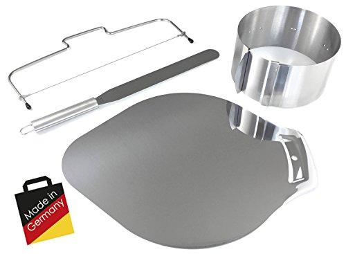 Mega Set Backen - Tortenring + Tortenbodenteiler + Kuchenheber + Streichpalette   Backset aus rostfreiem Edelstahl - Made in Germany